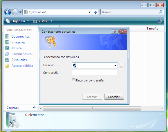 Explorador de windows accediendo al disco en red (solicitud de credenciales).
